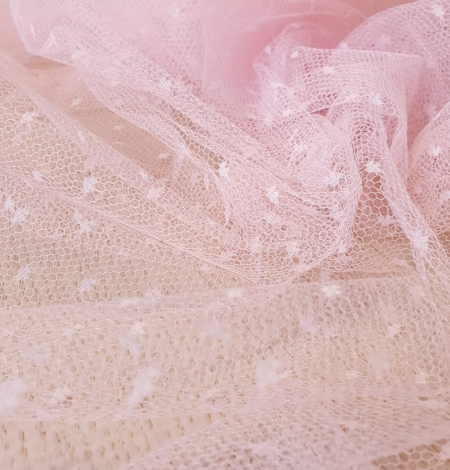 Light pink dotted tulle fabric. Photo 8