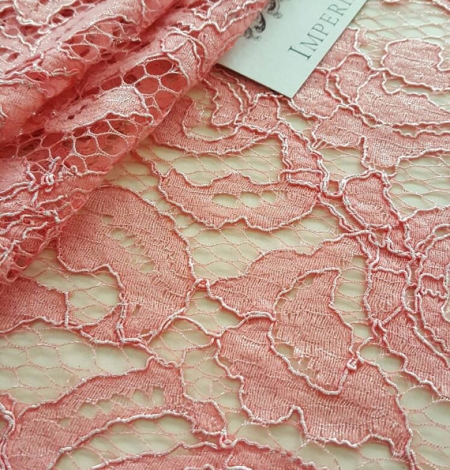 Salmon Lace Fabric. Photo 2