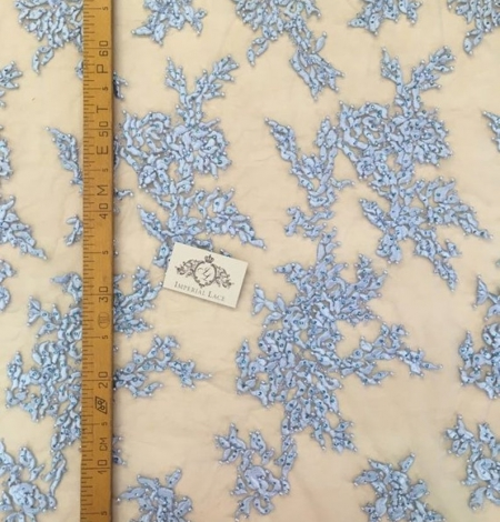 Light blue with crystals embroidery on tulle fabric. Photo 4