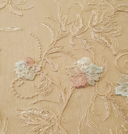 Multicolor floral 3D embroidery on beige tulle fabric. Photo 7
