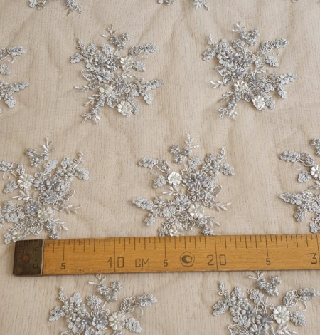 Grey beaded lace fabric. Photo 8