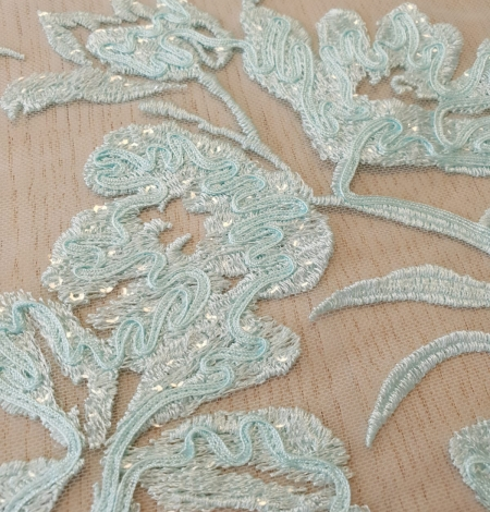 Blue floral pattern sequin embroidery on tulle fabric. Photo 4