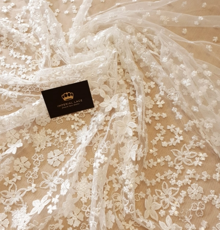 Ivory floral growing embroidery on tulle lace fabric. Photo 6