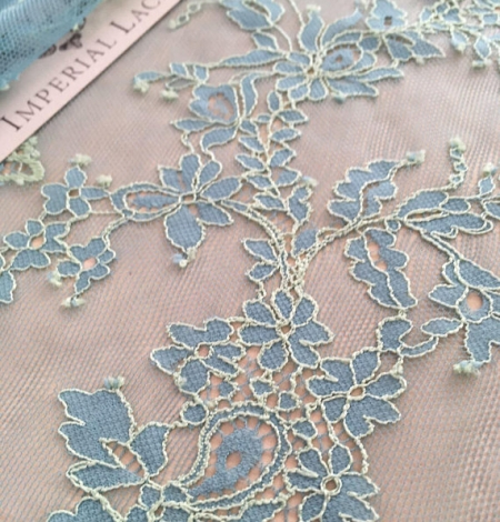 Blue with Green Lace Fabric. Photo 2