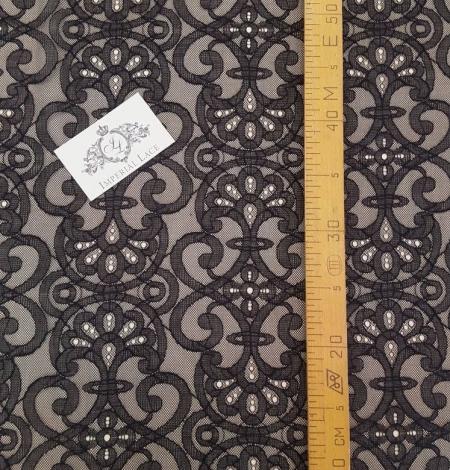 Black geometric lace fabric. Photo 4