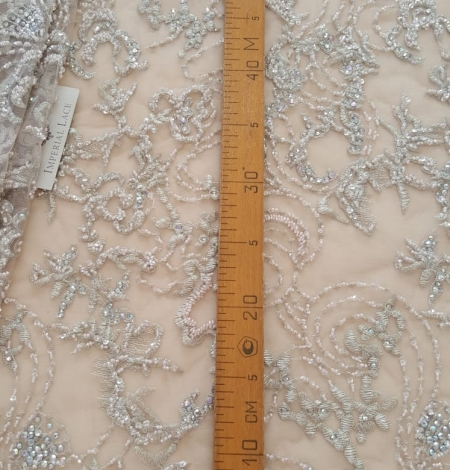 Beige beaded lace fabric. Photo 8