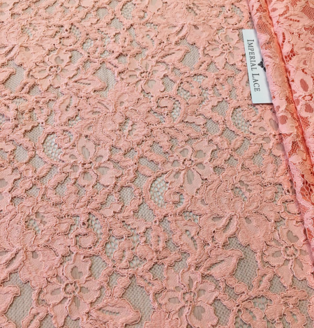 Peach lace fabric. Photo 8