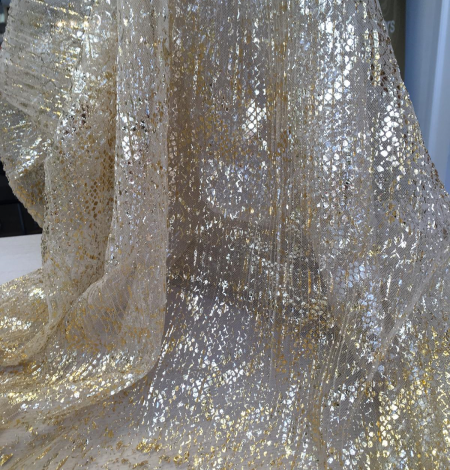 Nude pleated tulle fabric with gold spotting. Photo 7