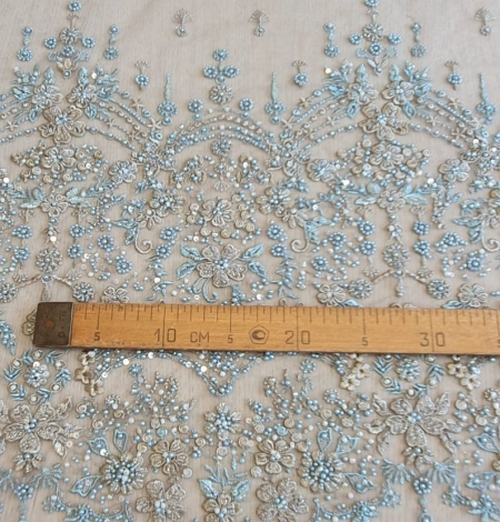 Grey blue beaded lace fabric. Photo 6