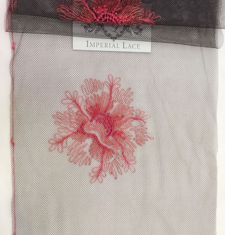 Pink embroidery on tulle Chantilly Lace. Photo 1