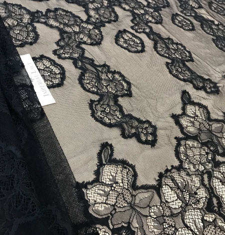 Black lace fabric. Photo 2