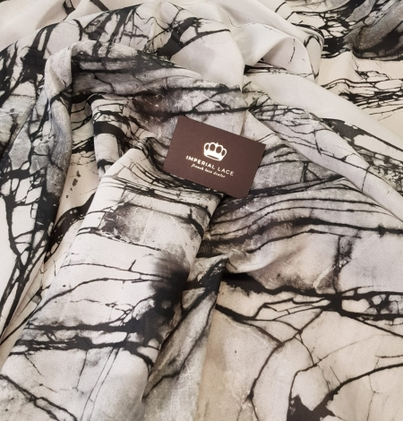 White and black marble pattern silk crepe chiffon fabric . Photo 1