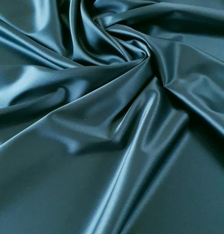 Sea blue polyester with elastane satin fabric. Photo 1