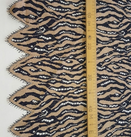 Black with Beige Lace Fabric. Photo 4