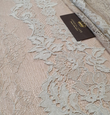 Mint on beige tulle guipure lace fabric. Photo 3