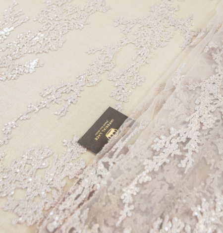 Nude organic pattern embroidery with sequins on tulle fabric. Photo 2
