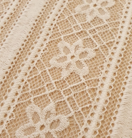 Ivory 100% polyester stripes and flowers guipure lace fabric. Photo 6