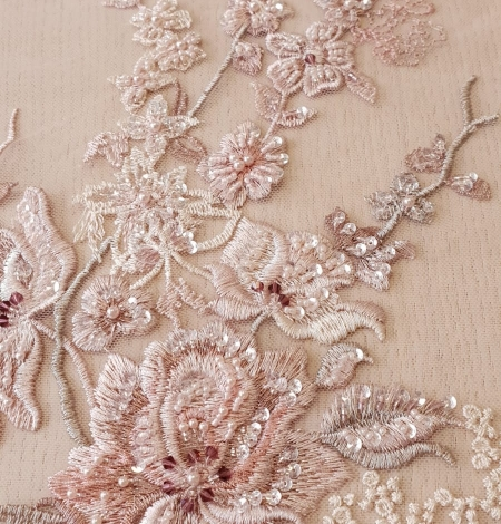 Pink beaded floral lace fabric. Photo 4