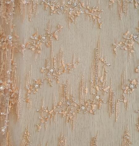 Peach beaded lace fabric. Photo 1