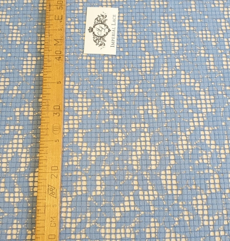 Blue floral guipure lace fabric. Photo 6
