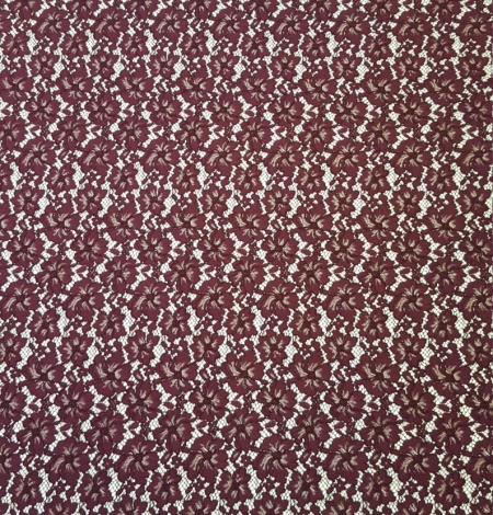 Wine red floral alencon lace fabric . Photo 5