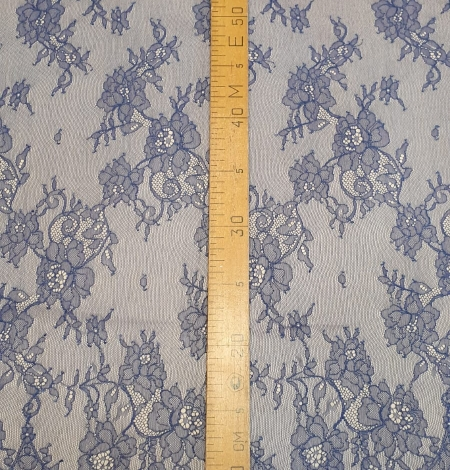 Blue chantilly lace fabric. Photo 6