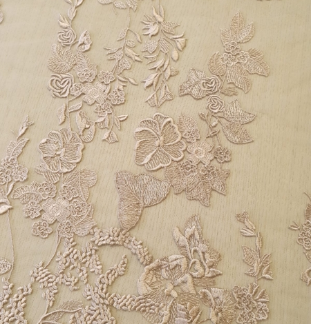 Dark powder nude floral pattern embroidery on tulle fabric. Photo 3
