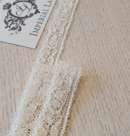 Ecru chantilly elastic lace trimming. Photo 1