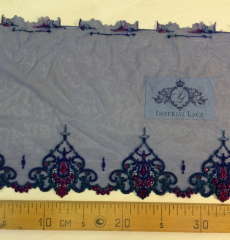 Blue with crystals elastic lingerie lace trim. Photo 5