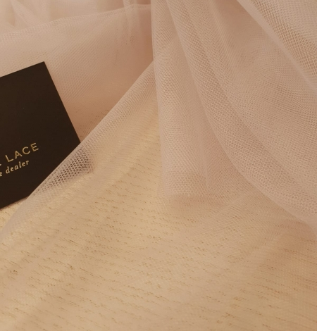 Beige invisible tulle fabric from Italy. Photo 6