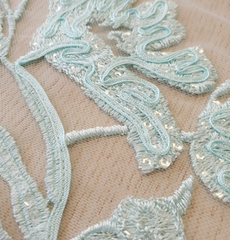 Blue floral pattern sequin embroidery on tulle fabric. Photo 5