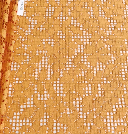Rust tone color chantilly lace fabric. Photo 5