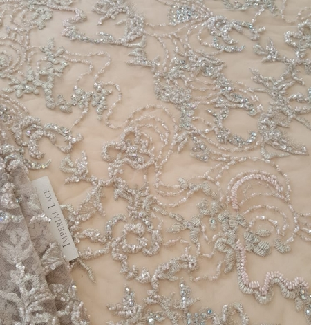 Beige beaded lace fabric. Photo 2