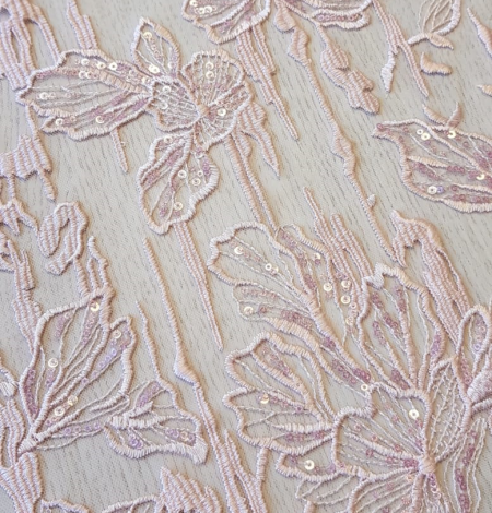 Pink embroidery on light grey tulle. Photo 5