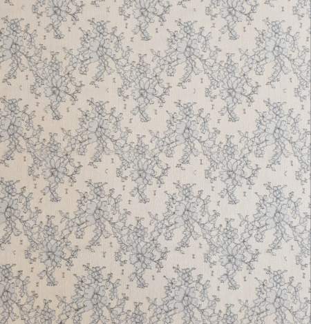 Grey natural chantilly lace fabric by Jean Bracq. Photo 6