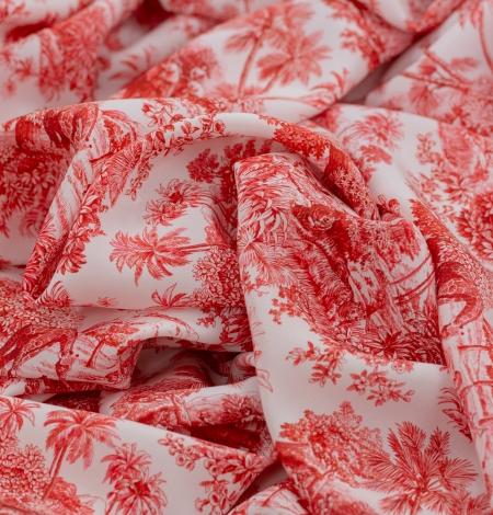 Red with orange shade printed silk crepe fabric. Photo 3