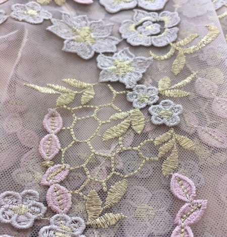 Nude embroidery tulle. Photo 6