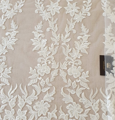 Ivory thick embroidery beaded lace fabric. Photo 7