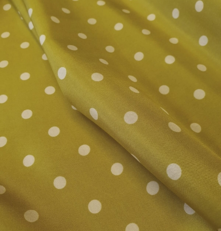 Olive green white dotted silk lining fabric. Photo 6