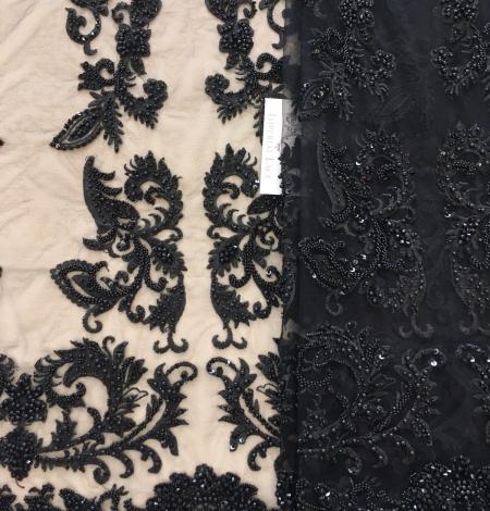 Black beaded lace fabric. Photo 1