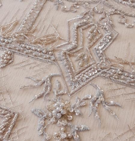 Beigish gray geometric with hanging details beaded lace fabrics. Photo 3