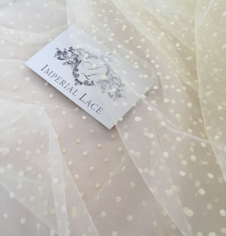 Creme color tulle fabric with dots. Photo 1