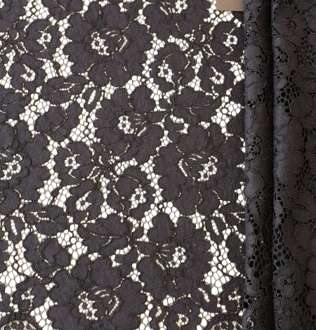Black guipure lace fabric. Photo 6