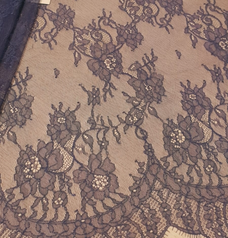 Blue chantilly lace fabric. Photo 1
