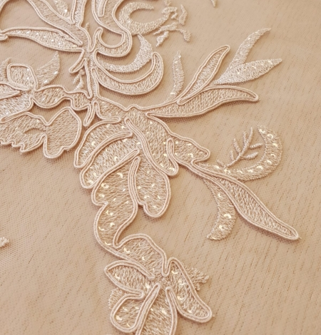 Beige sequin embroidery on soft tulle fabric. Photo 6