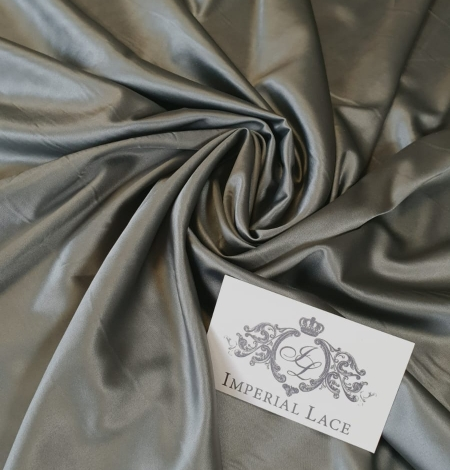 Olive polyester with elastane satin fabric. Photo 1