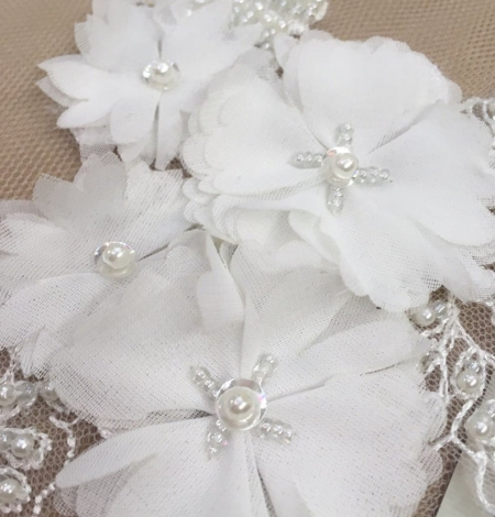 White with beaded and fabric flowers embroidery applique. Photo 2