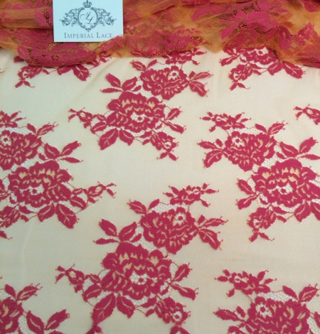 Orange and Fuchsia Color Lace Fabric. Photo 2