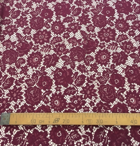 Wine red lace fabric. Photo 8