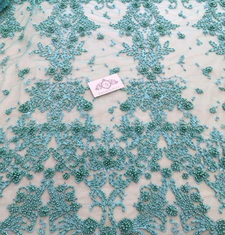 Green flowers lace fabric 3D. Photo 3